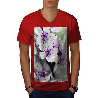 White Flower Photo Men RedV-Neck T-shirt   Wellcoda