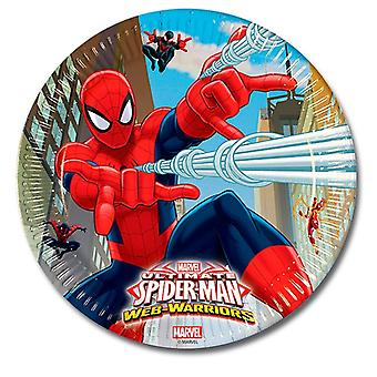 Plate party platter plate Spiderman warriors kids party birthday 23 cm diameter 8 pieces