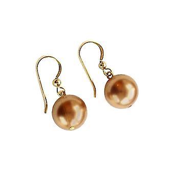 Gemshine - damer - øreringe - perler - Tahiti - champagne - forgyldt 12 mm