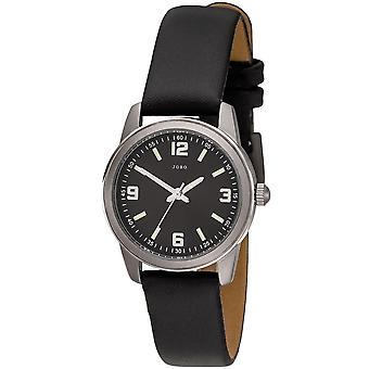 JOBO Damen Armbanduhr Quarz Analog Titan Lederband schwarz Damenuhr
