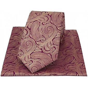 David Van Hagen Paisley Tie en zakdoek Set - paars