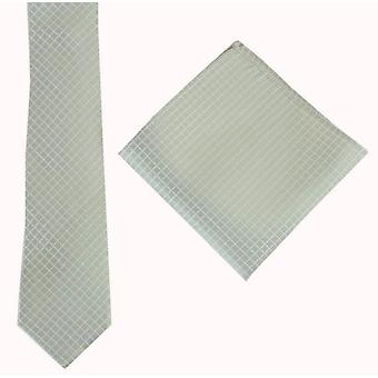 Knightsbridge Neckwear Check Tie and Pocket Square set - Green