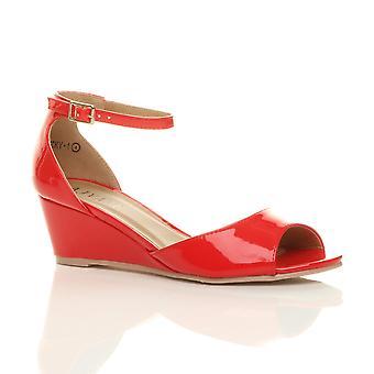Ajvani dame lav midten af kile hæl peep toe ankel rem smart afslappet aften sandaler