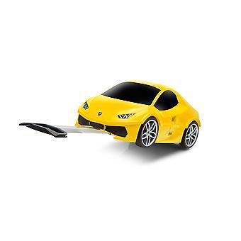 Officiella Lamborghini Huracan bil barn Pull-längs fall / resa resväska - gul