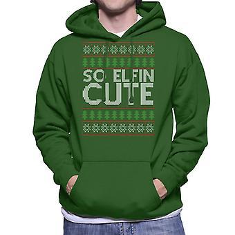 Christmas So Elfin Cute Knit Pattern Men's Hooded Sweatshirt