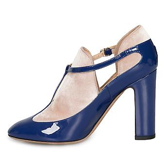 Valentino Ankle Strap Block Heels in Blue Lapis