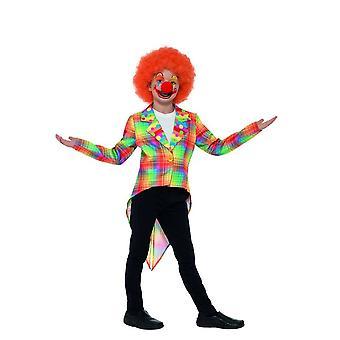 Neon Tartan Clown Circus Tailcoat, Boys Fancy Dress, Large Age 10-12
