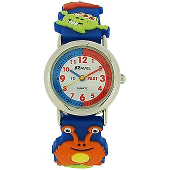 Ravel Time Teacher Boys 3D Monster Design Strap Watch + Telling Time Award