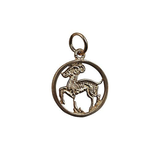 9ct Gold 11mm pierced Capricorn Zodiac Pendant