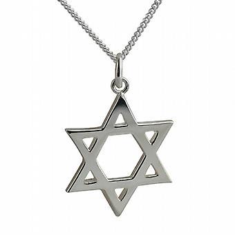 Srebrny 23 mm zwykły Star of David wisiorek z krawężnika łańcucha 18 cali
