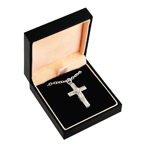 Silver 30x20mm solid block Crucifix Cross with a cable Chain 20 inches