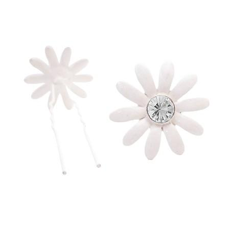 Ivory Flower Hair Pin w/ Clear Crystals Girls Beautiful Hair Jewelry
