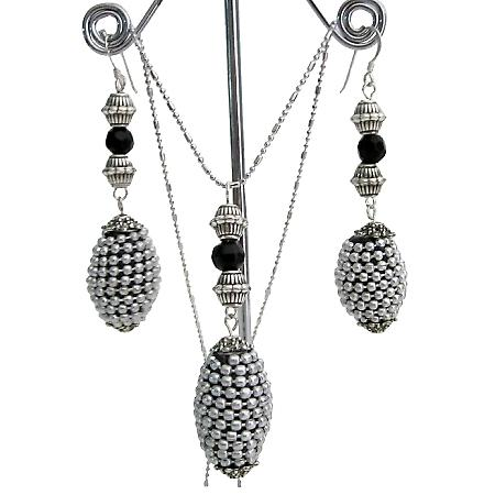 Artisan Creation Gift Ethnic Tribal Jewelry Silver Black Jewelry Set
