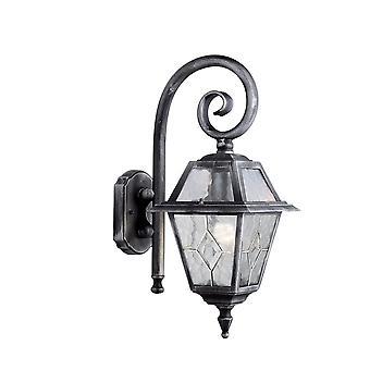 Genua svart & Silver vägg utomhus Downlight med bly glas - Searchlight 1515