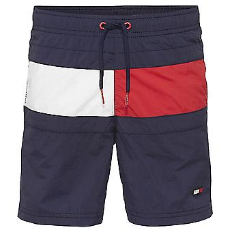 Tommy Hilfiger Boys Core Flag Drawstring Swim Shorts, Navy Blazer, X-Large