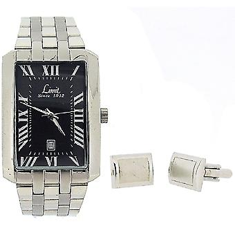 Limit Gents Date Silver Tone Metal Bracelet Watch & Cufflinks Gift Set 5460G.45