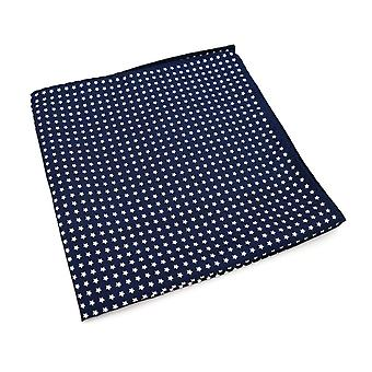 Navy blue & white star large 33cm hanky pocket square
