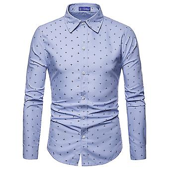 Allthemen hommes chemise à manches longues imprimé ancre coton mélange chemise 4 couleurs