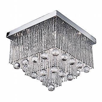 Beatrix 5 Chrome lumière plafond cristal gouttes de Tubes d'Aluminium Twist