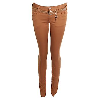 Ladies Skinny Slim Fit Style Belted Trousers Jeans Womens Pants