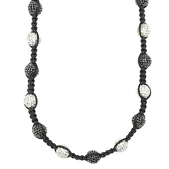 Disco Perles boule de cristal Collier de style Shamballa, Ciel & Black Pave 12mm