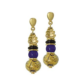 Eternal Collection Natura Blue And Gold Murano Glass Drop Clip On Earrings