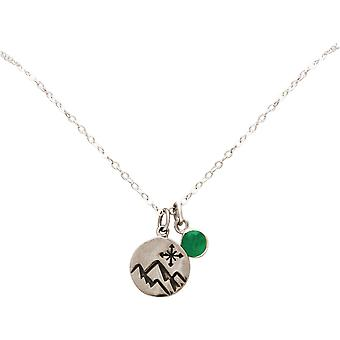 Gemshine Alpine Windrose Compass Necklace 925 Silver, Gold plated, rose - Emerald