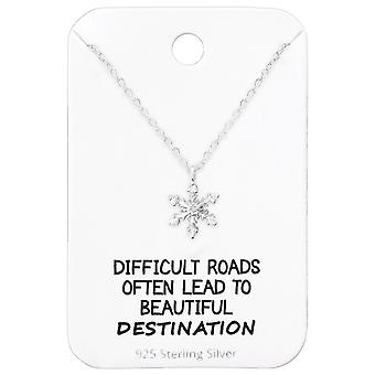 Snowflake Necklace On Motivational Quote Card - 925 Sterling Silver Sets - W36088X
