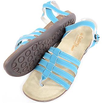 Ladies / Womens Leather Summer / Holiday / Beach Strapped Sandals / Shoe - Turquoise - UK 8