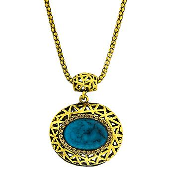 Topaz Crystal & Turquoise Blue Stone Oval Pendant Necklace