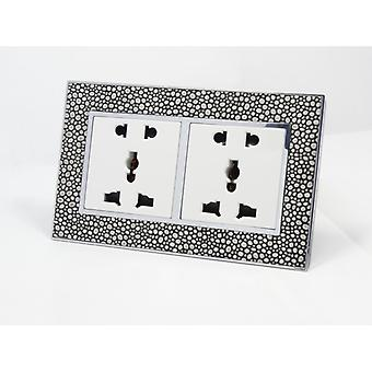 I LumoS AS Luxury Pearl Leather  Unswitched 5 Pin Multi Plug Double Socket
