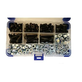765Pc Black Socket Button Head Setscrews With Washers and Nuts M4 4MM