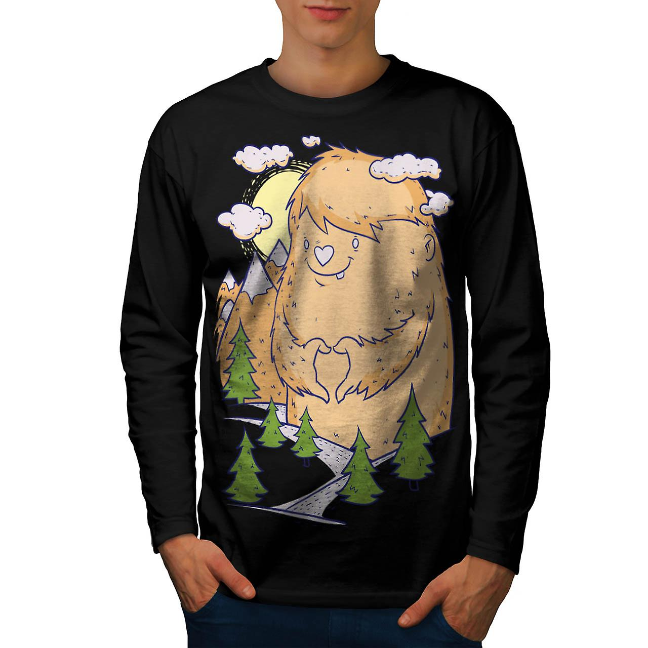 Giant Monster Love Furry Comic Men Black Long Sleeve T-shirt | Wellcoda