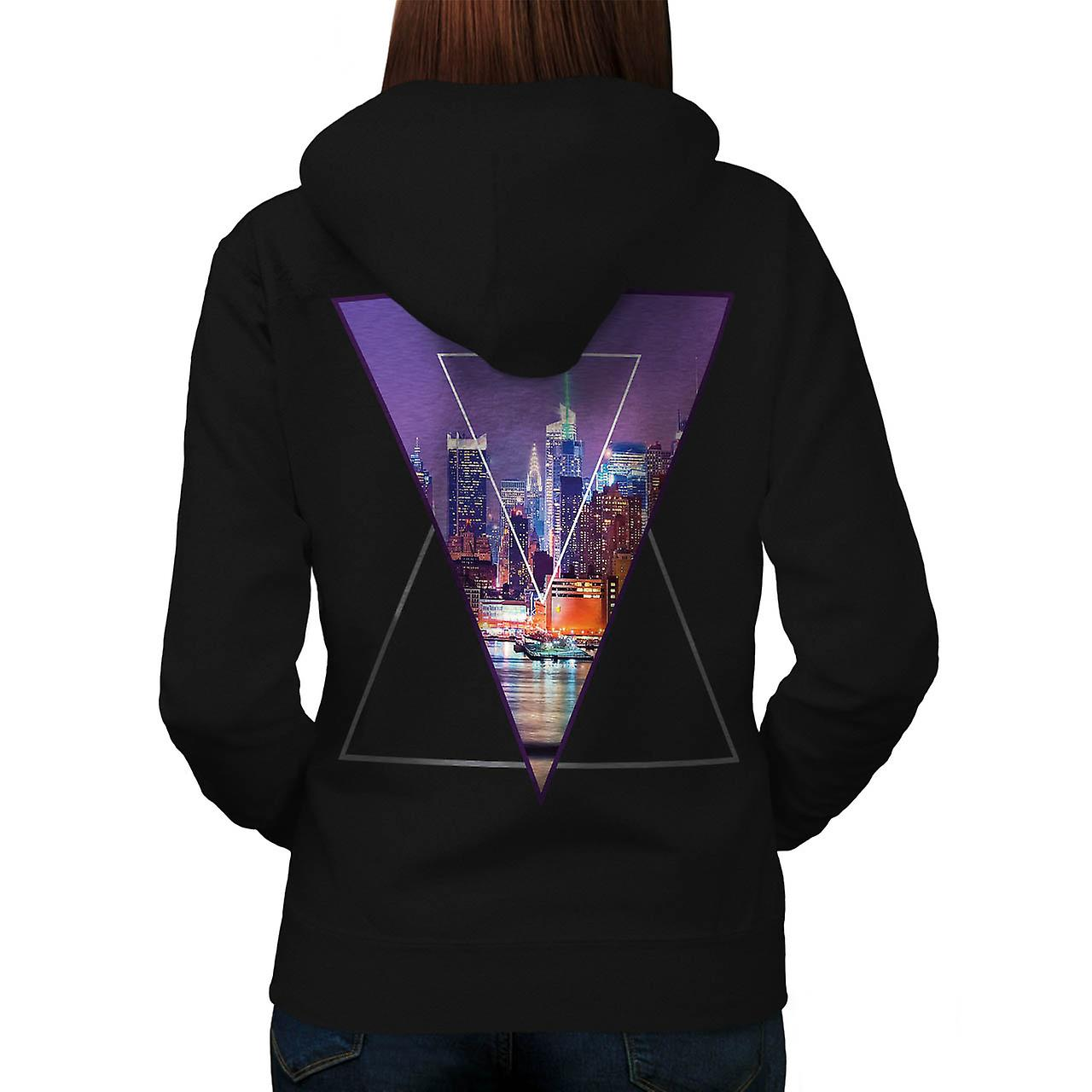 Urban City Soul Life Sky Line Love Women Black Hoodie Back | Wellcoda