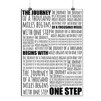Matte or Glossy Poster with Journey Begins Slogan Journey | Wellcoda | *q1093