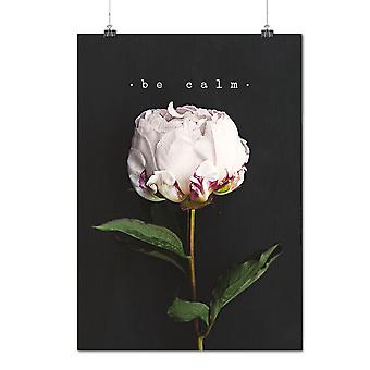 Matte or Glossy Poster with Be Calm Flower Art Nature Beautiful Flower | Wellcoda | *q1193