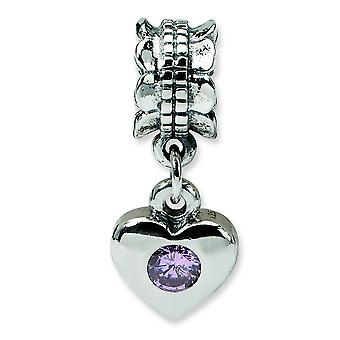 Sterling Silver Polished Antique finish Reflections Pink Cubic Zirconia Heart Dangle Bead Charm