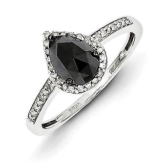 Sterling Silver Black and White Diamond Teardrop Ring - Ring Size: 6 to 8