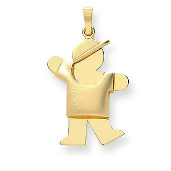 14k Gold Puffed Boy with Hat on Left Engraveable Charm - 2.5 Grams
