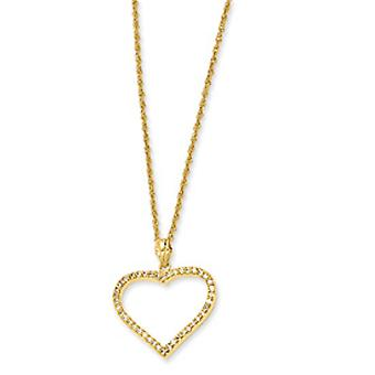 Gold-plated CZ Heart Necklace - 18 Inch