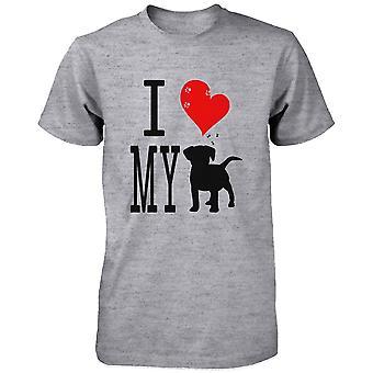 Mäns söt grafisk uttalande T-Shirt - jag älskar min hund grå mössan