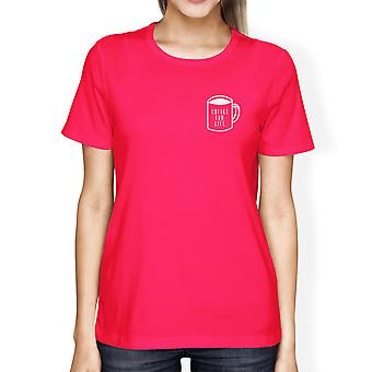 Coffee For Life Pocket Womans Hot Pink Tee Cute Typographic Tee
