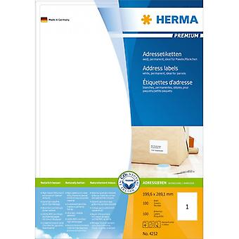 Address labels white 199, 6x289, 1 Herma Premium A4 100 pcs.