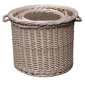 Set of 3 Deluxe Rope Handled Lined Log Baskets