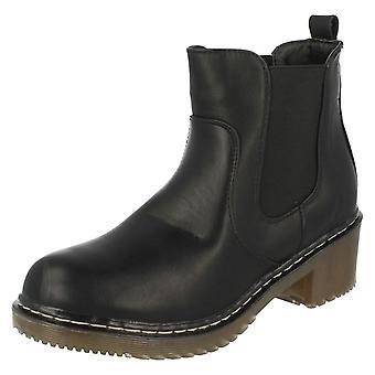 Damen-Spot auf klobige Ferse ziehen Sie am Knöchel Stiefel F50413
