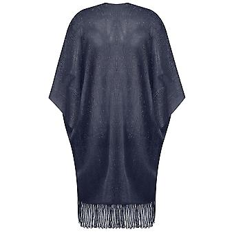 Navy Metallic Longline Kimono With Fringed Hem