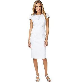 White Cotton Rich Broderie Peplum Shift Dress DR787-8