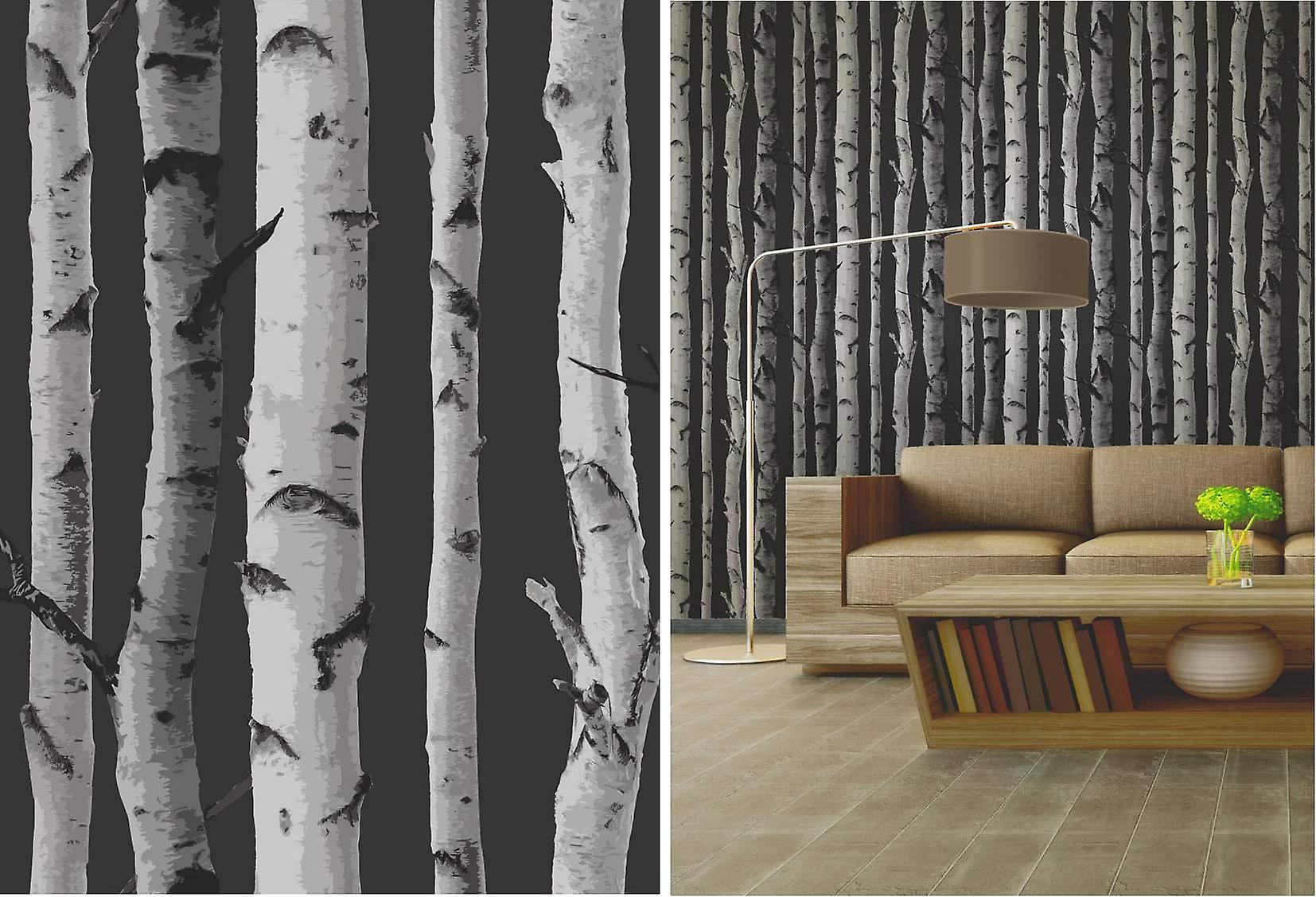 Fine Decor Charcoal Grey Birch Trees Forest Themed Feature Wallpaper