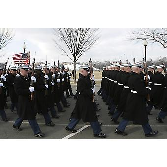 January 20 2009 - Marines from Marine Barracks Washington participate in the 2009 presidential inaugural parade in downtown Washington DC Poster Print