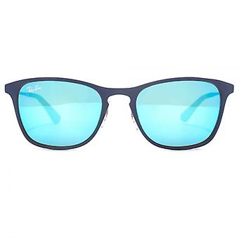 Ray-Ban Junior Metal Keyhole Square Sunglasses In Blue Mirrored